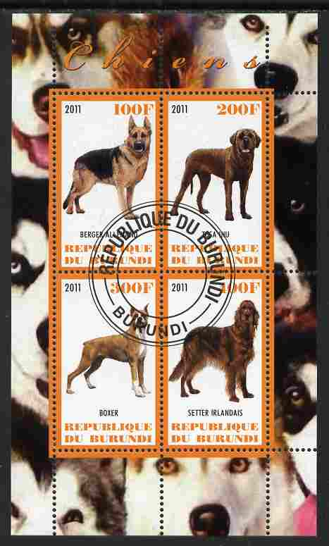 Burundi 2011 Dogs #2 - perf sheetlet containing 4 values fine cto used