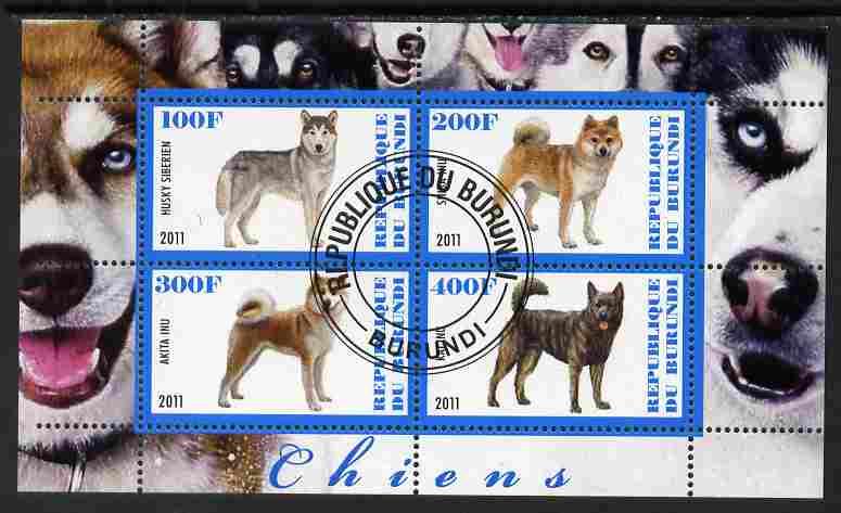 Burundi 2011 Dogs #3 - perf sheetlet containing 4 values fine cto used