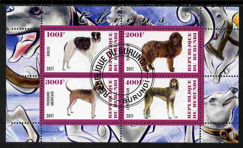 Burundi 2011 Dogs #4 - perf sheetlet containing 4 values fine cto used, stamps on dogs