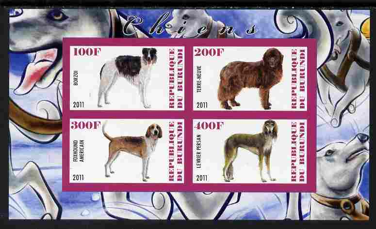 Burundi 2011 Dogs #4 - imperf sheetlet containing 4 values unmounted mint