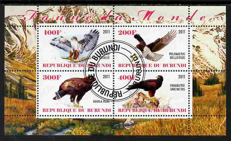 Burundi 2011 Birds of Prey perf sheetlet containing 4 values fine cto used