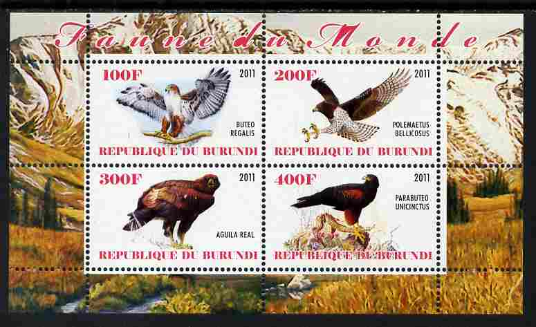 Burundi 2011 Birds of Prey perf sheetlet containing 4 values unmounted mint