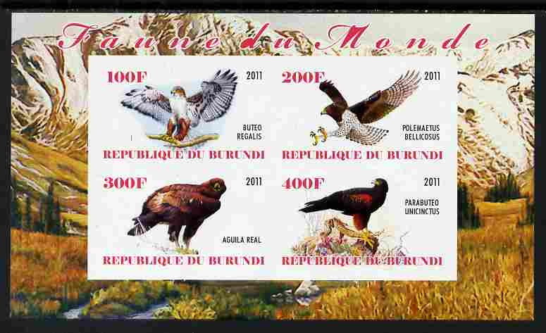 Burundi 2011 Birds of Prey imperf sheetlet containing 4 values unmounted mint