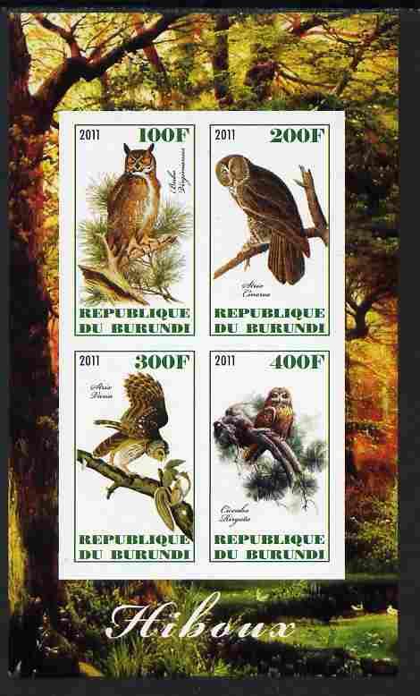 Burundi 2011 Owls imperf sheetlet containing 4 values unmounted mint