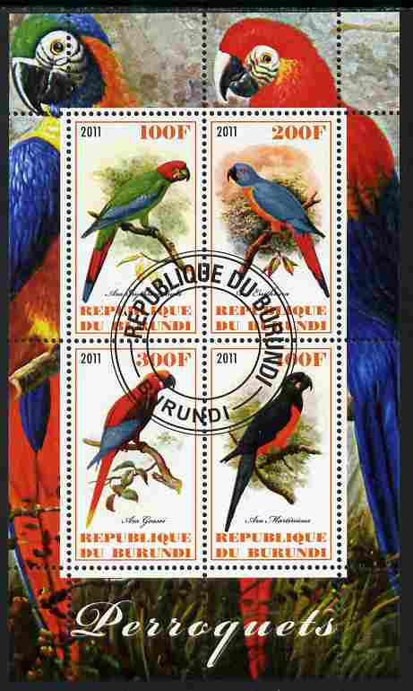 Burundi 2011 Parrots perf sheetlet containing 4 values fine cto used