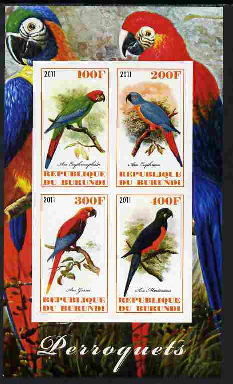Burundi 2011 Parrots imperf sheetlet containing 4 values unmounted mint