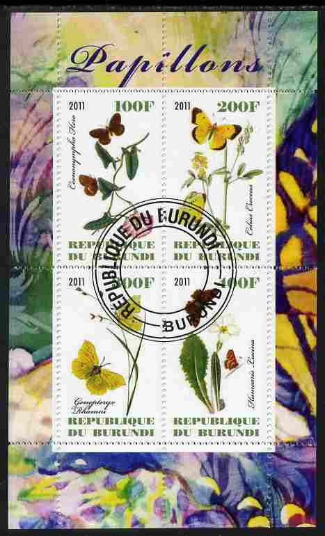 Burundi 2011 Butterflies #1 perf sheetlet containing 4 values fine cto used