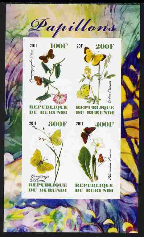Burundi 2011 Butterflies #1 imperf sheetlet containing 4 values unmounted mint