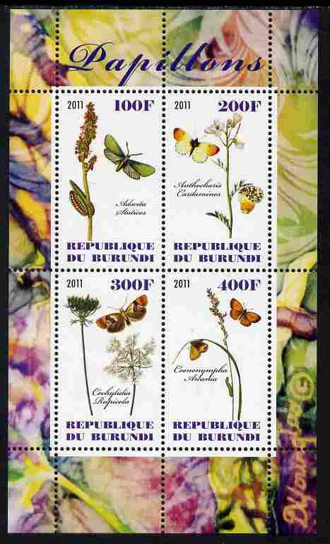 Burundi 2011 Butterflies #2 perf sheetlet containing 4 values unmounted mint