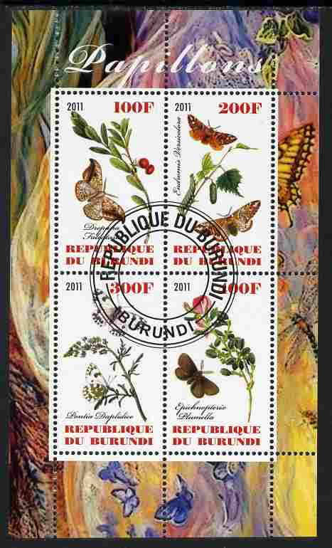 Burundi 2011 Butterflies #3 perf sheetlet containing 4 values fine cto used