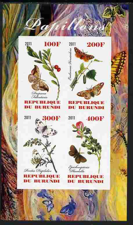 Burundi 2011 Butterflies #3 imperf sheetlet containing 4 values unmounted mint