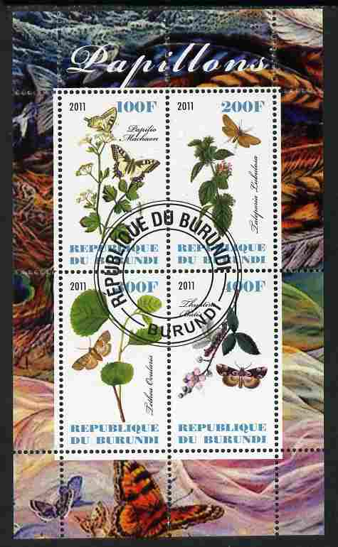 Burundi 2011 Butterflies #4 perf sheetlet containing 4 values fine cto used