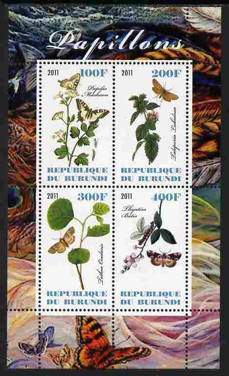 Burundi 2011 Butterflies #4 perf sheetlet containing 4 values unmounted mint