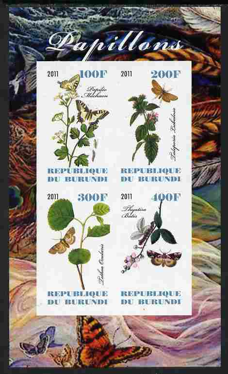 Burundi 2011 Butterflies #4 imperf sheetlet containing 4 values unmounted mint