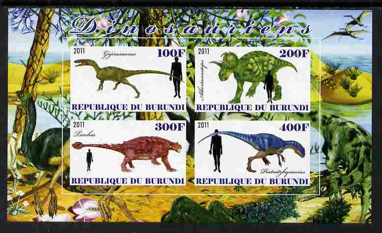 Burundi 2011 Dinosaurs #1 imperf sheetlet containing 4 values unmounted mint