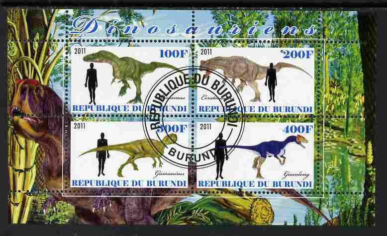 Burundi 2011 Dinosaurs #2 perf sheetlet containing 4 values fine cto used
