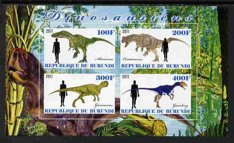 Burundi 2011 Dinosaurs #2 imperf sheetlet containing 4 values unmounted mint
