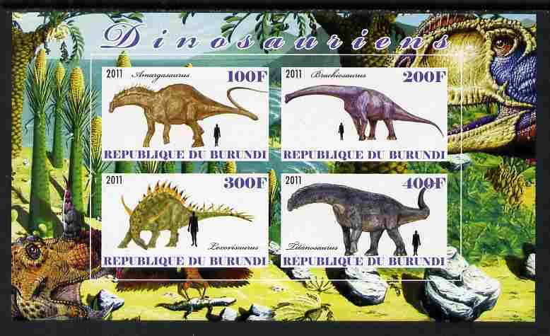 Burundi 2011 Dinosaurs #3 imperf sheetlet containing 4 values unmounted mint, stamps on dinosaurs