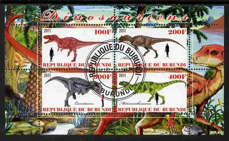 Burundi 2011 Dinosaurs #4 perf sheetlet containing 4 values fine cto used