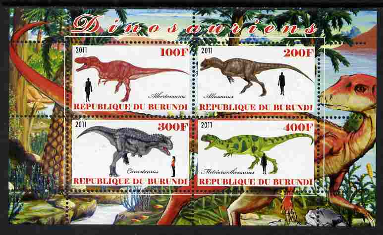 Burundi 2011 Dinosaurs #4 perf sheetlet containing 4 values unmounted mint