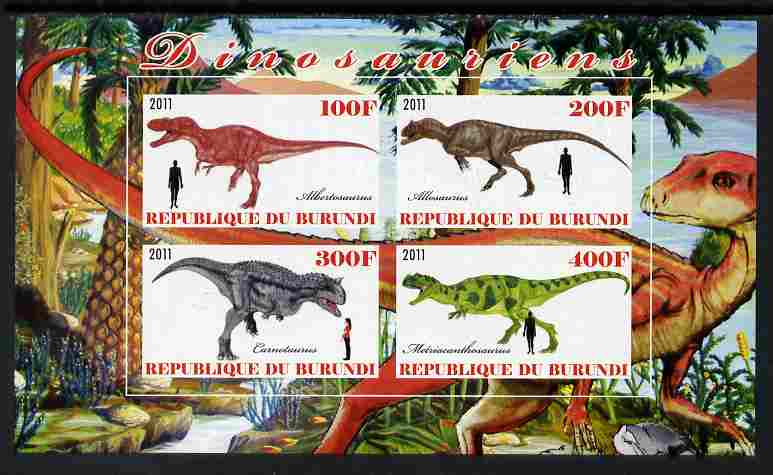 Burundi 2011 Dinosaurs #4 imperf sheetlet containing 4 values unmounted mint