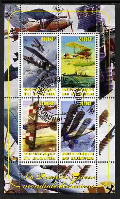 Burundi 2011 Aircraft of WW1 #1 perf sheetlet containing 4 values fine cto used