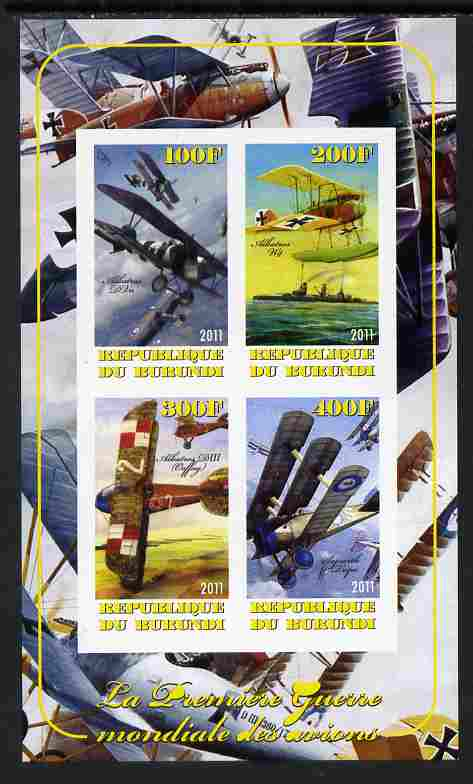 Burundi 2011 Aircraft of WW1 #1 imperf sheetlet containing 4 values unmounted mint