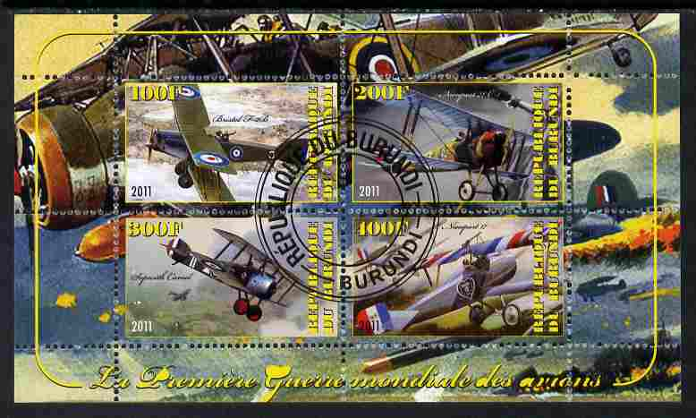 Burundi 2011 Aircraft of WW1 #2 perf sheetlet containing 4 values fine cto used