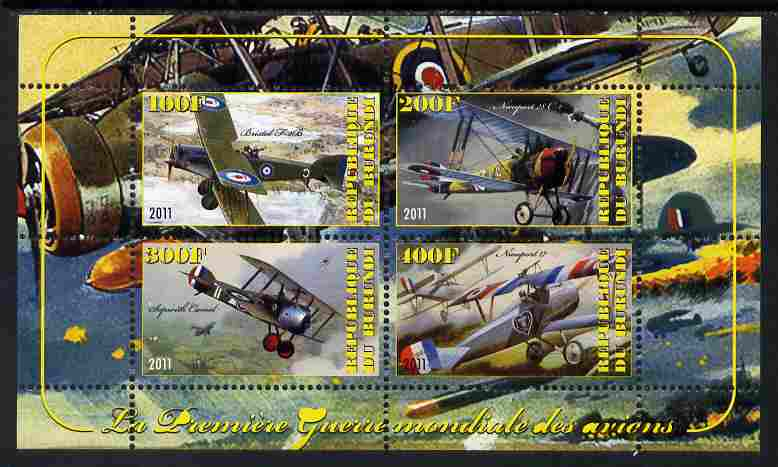 Burundi 2011 Aircraft of WW1 #2 perf sheetlet containing 4 values unmounted mint