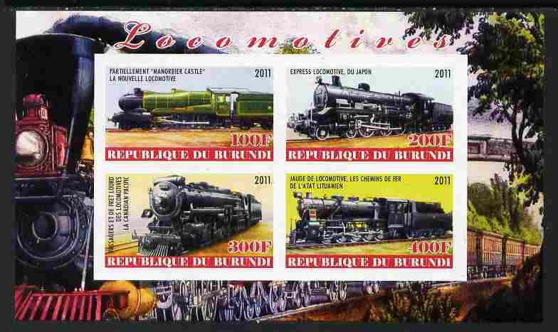 Burundi 2011 Steam Locomotives #1 imperf sheetlet containing 4 values unmounted mint