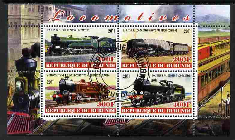 Burundi 2011 Steam Locomotives #2 perf sheetlet containing 4 values fine cto used