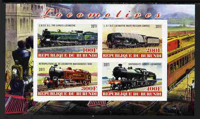 Burundi 2011 Steam Locomotives #2 imperf sheetlet containing 4 values unmounted mint