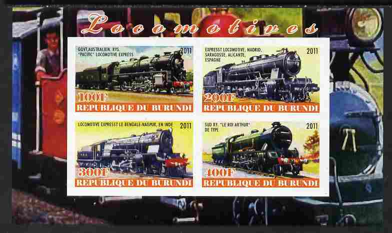 Burundi 2011 Steam Locomotives #3 imperf sheetlet containing 4 values unmounted mint