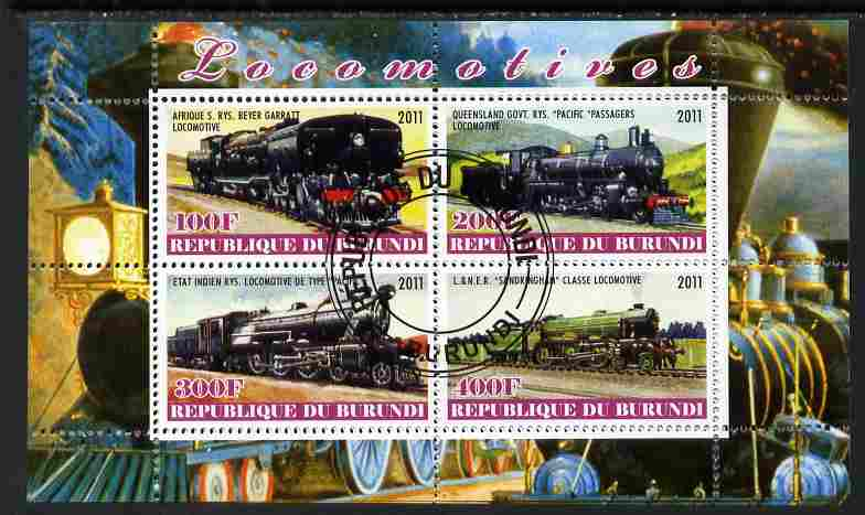 Burundi 2011 Steam Locomotives #4 perf sheetlet containing 4 values fine cto used