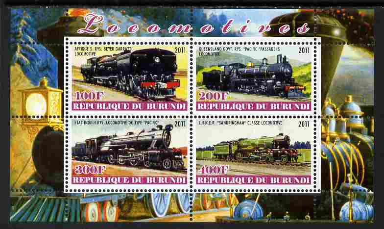Burundi 2011 Steam Locomotives #4 perf sheetlet containing 4 values unmounted mint