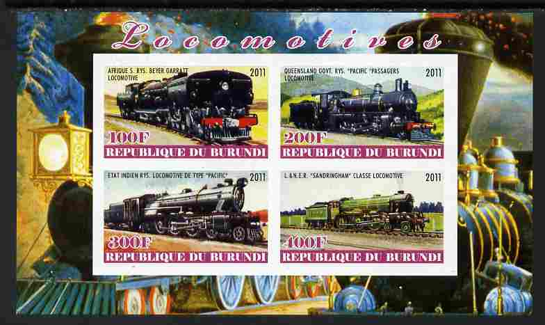 Burundi 2011 Steam Locomotives #4 imperf sheetlet containing 4 values unmounted mint