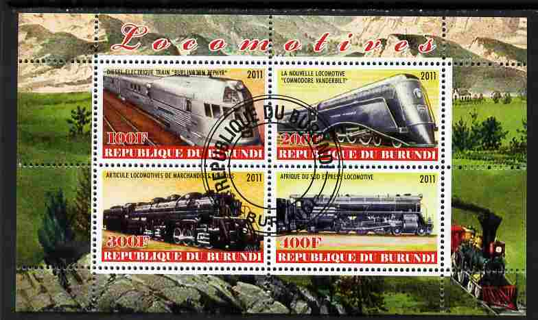 Burundi 2011 Steam Locomotives #5 perf sheetlet containing 4 values fine cto used