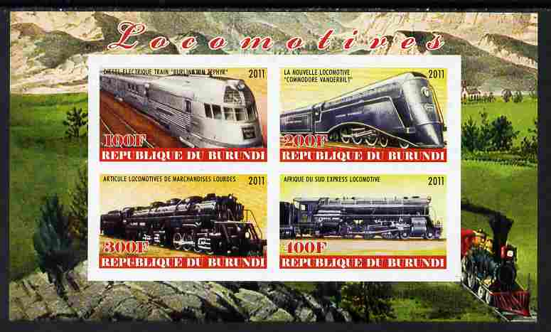 Burundi 2011 Steam Locomotives #5 imperf sheetlet containing 4 values unmounted mint