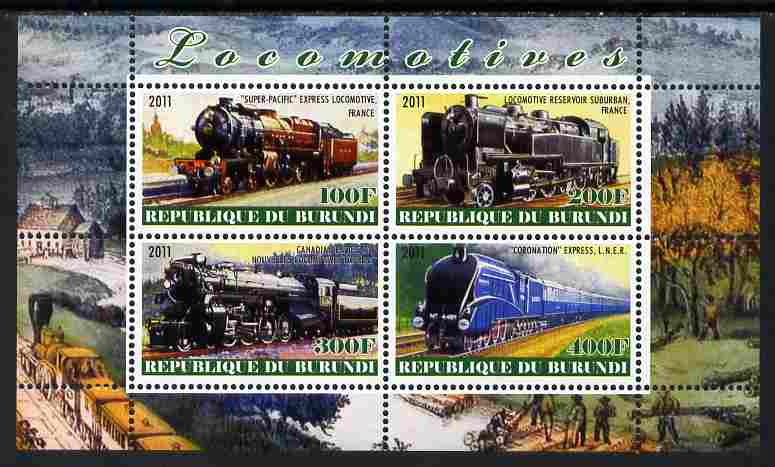 Burundi 2011 Steam Locomotives #6 perf sheetlet containing 4 values unmounted mint