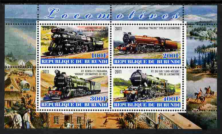 Burundi 2011 Steam Locomotives #7 perf sheetlet containing 4 values unmounted mint