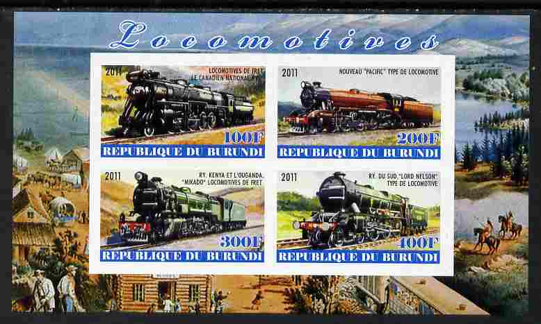 Burundi 2011 Steam Locomotives #7 imperf sheetlet containing 4 values unmounted mint