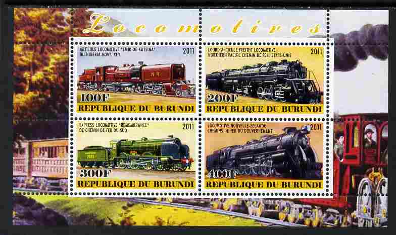 Burundi 2011 Steam Locomotives #8 perf sheetlet containing 4 values unmounted mint