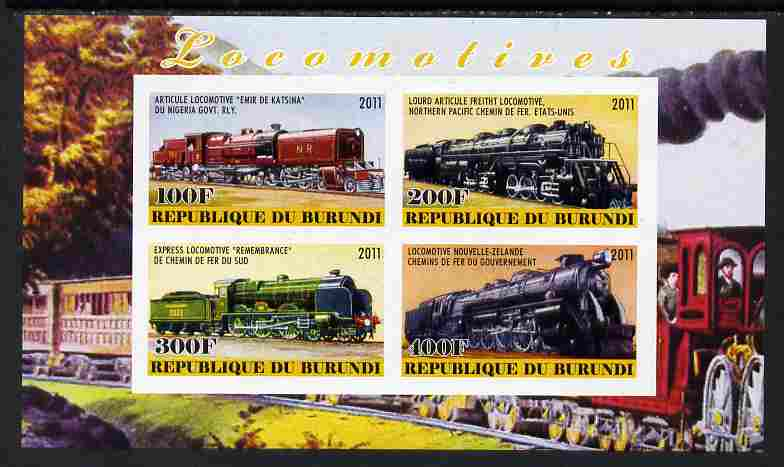 Burundi 2011 Steam Locomotives #8 imperf sheetlet containing 4 values unmounted mint