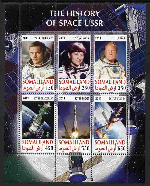 Somaliland 2011 History of Space - USSR #02 perf sheetlet containing 6 values unmounted mint