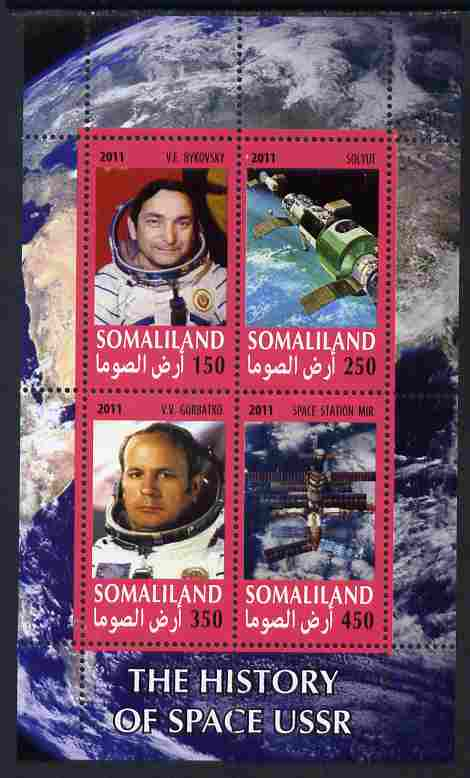 Somaliland 2011 History of Space - USSR #04 perf sheetlet containing 4 values unmounted mint