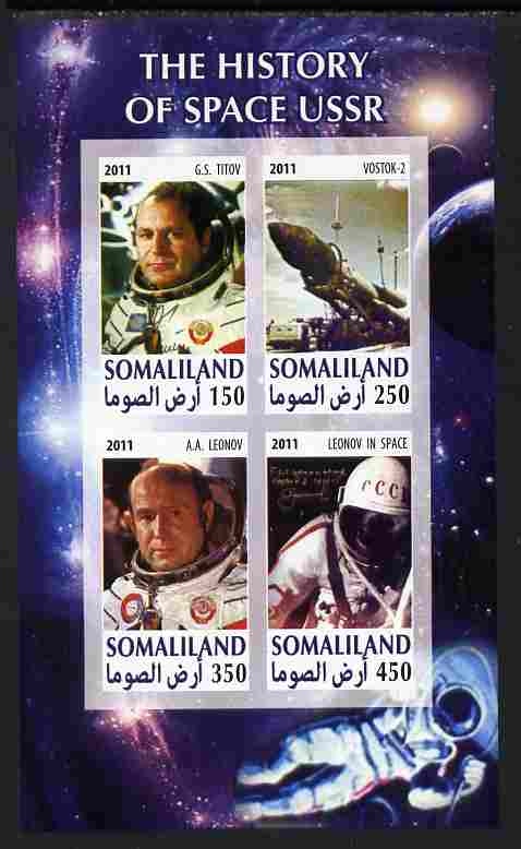 Somaliland 2011 History of Space - USSR #09 imperf sheetlet containing 4 values unmounted mint