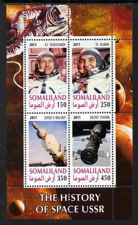 Somaliland 2011 History of Space - USSR #10 perf sheetlet containing 4 values unmounted mint