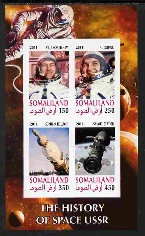 Somaliland 2011 History of Space - USSR #10 imperf sheetlet containing 4 values unmounted mint