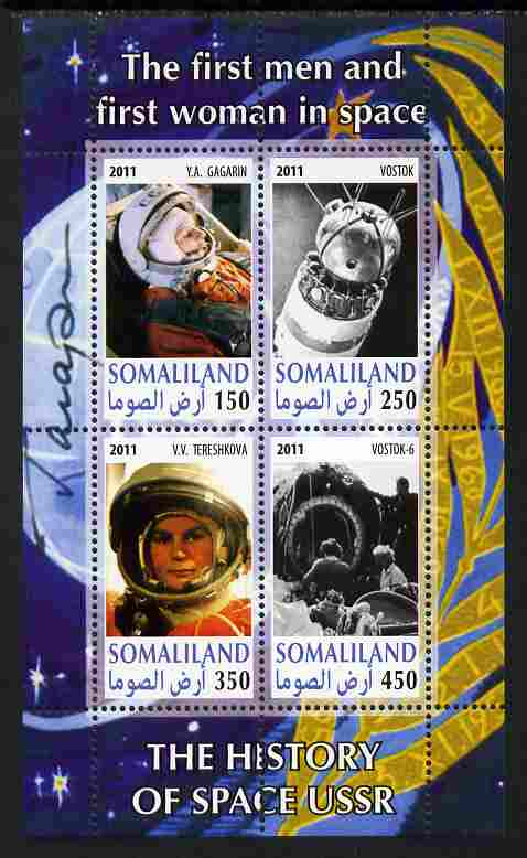 Somaliland 2011 History of Space - USSR #11 perf sheetlet containing 4 values unmounted mint