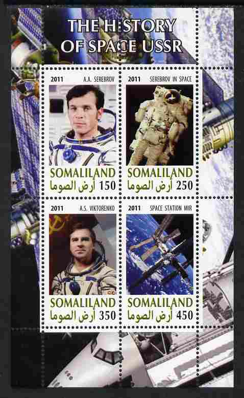 Somaliland 2011 History of Space - USSR #13 perf sheetlet containing 4 values unmounted mint